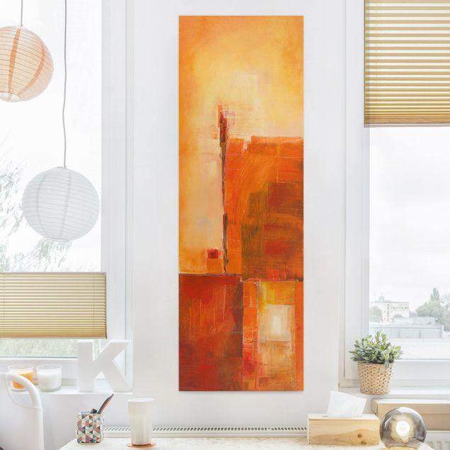 Leinwandbild - Abstrakt Orange Braun - Panorama Hochformat 1:3