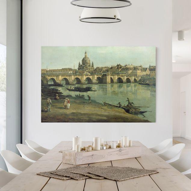 Leinwandbild - Bernardo Bellotto - Dresden vom rechten Elbufer unterhalb der Augustusbrücke - Quer 3:2