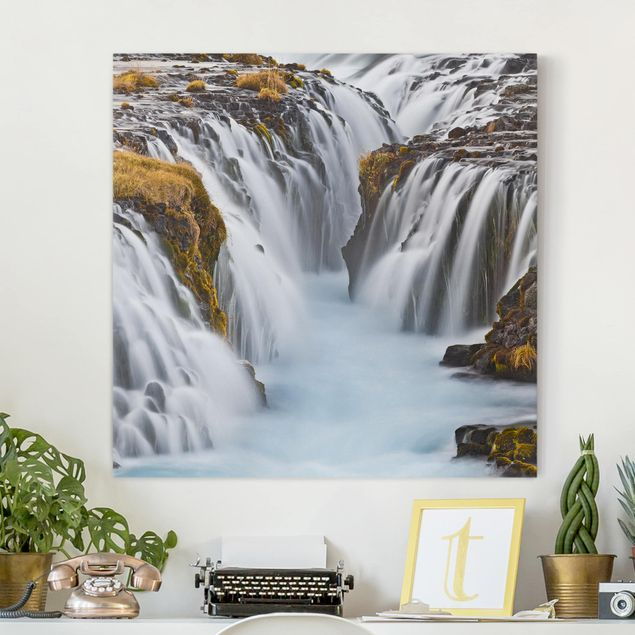 Leinwandbild - Brúarfoss Wasserfall in Island - Quadrat 1:1