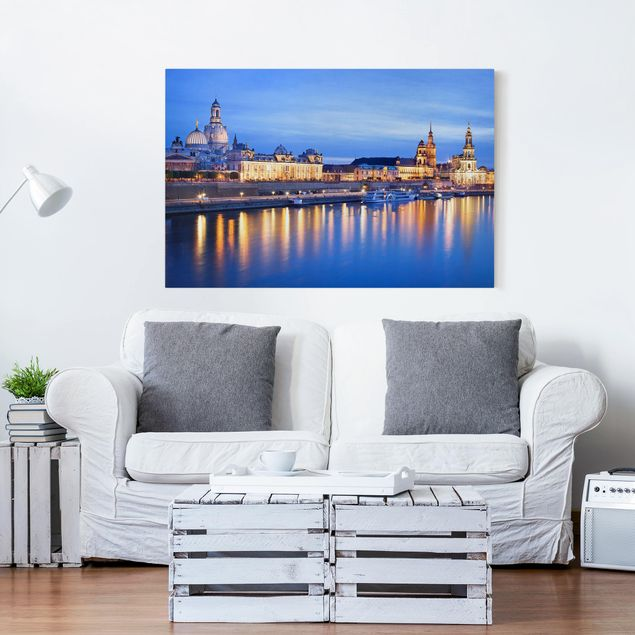 Leinwandbild - Canaletto-Blick bei Nacht - Quer 3:2