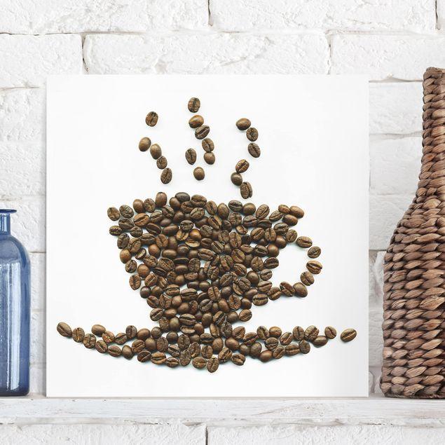 Leinwandbild - Coffee Beans Cup - Quadrat 1:1