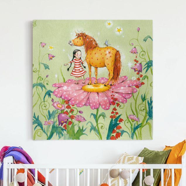 Leinwandbild - Das Zauberpony auf der Blüte - Quadrat 1:1