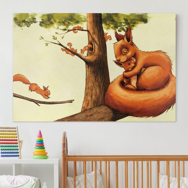 Leinwandbild - Einhörnchen Mama - Quer 3:2