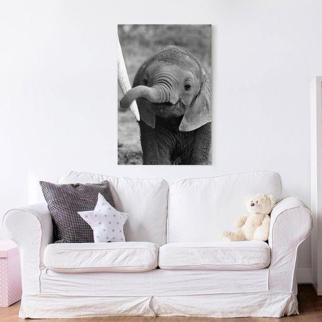 Leinwandbild - Elefantenbaby - Hoch 2:3