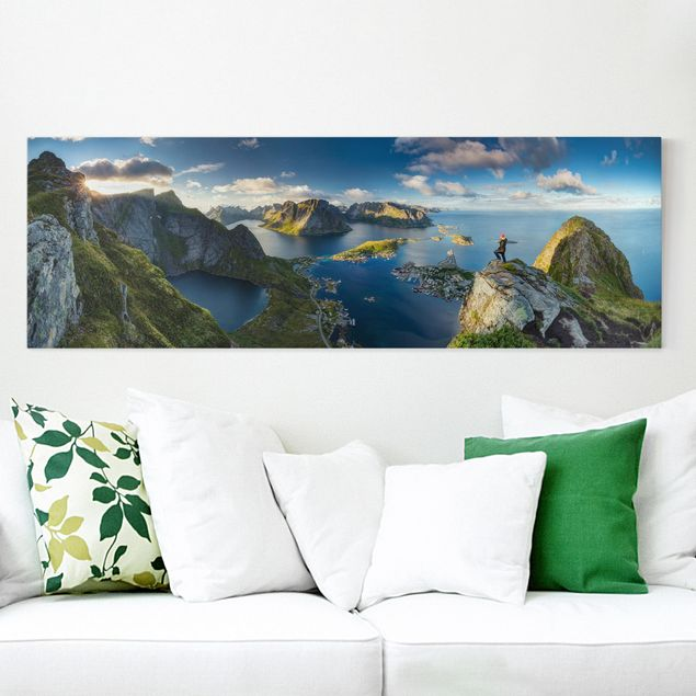 Leinwandbild - Fjordblick in Reinebringen - Panorama Quer