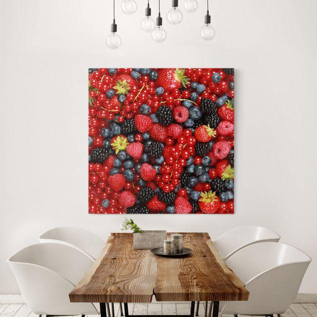Leinwandbild - Fruchtige Waldbeeren - Quadrat 1:1