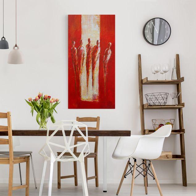 Leinwandbild - Fünf Figuren in Rot 02 - Hochformat 1:2