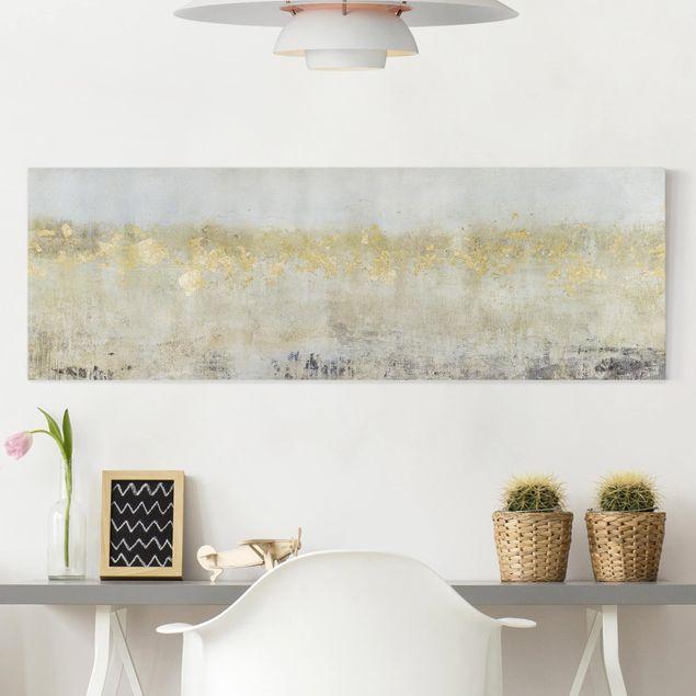 Leinwandbild - Goldene Farbfelder I - Panorama 1:3