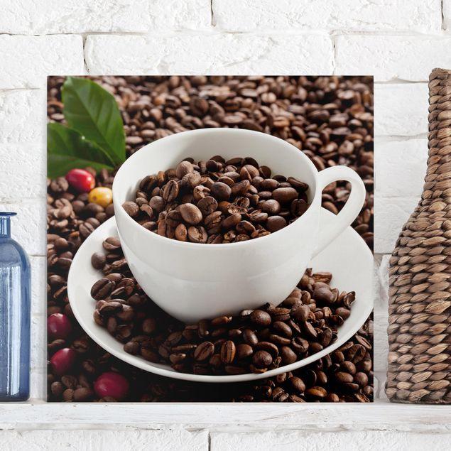 Leinwandbild - Kaffeetasse mit gerösteten Kaffeebohnen - Quadrat 1:1