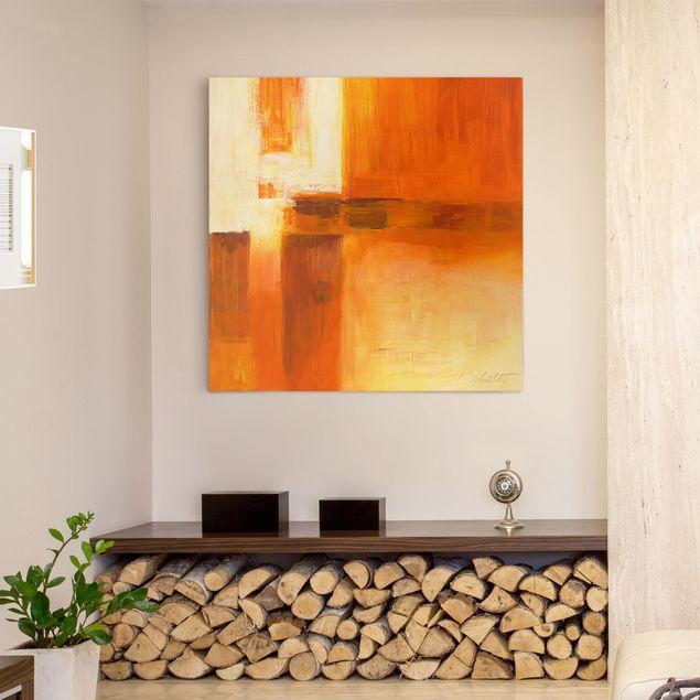 Leinwandbild - Komposition in Orange und Braun 01 - Quadrat 1:1