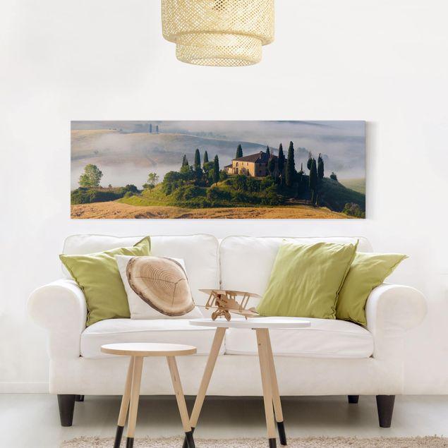 Leinwandbild - Landgut in der Toskana - Panorama Quer