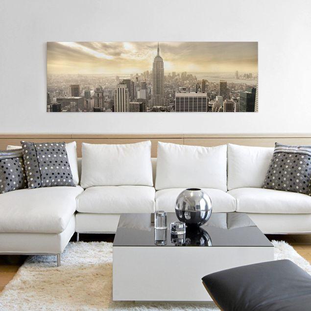 Leinwandbild - Manhattan Dawn - Panorama Quer