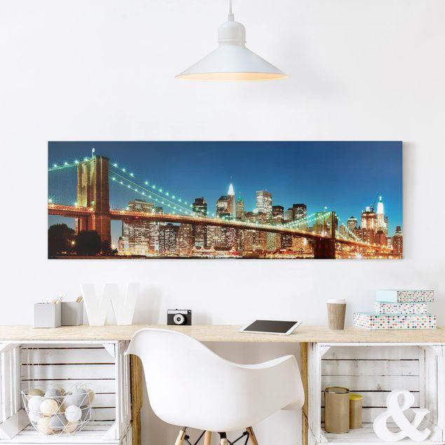 Leinwandbild - Nighttime Manhattan Bridge - Panorama Quer