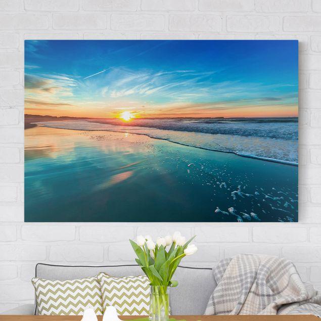 Leinwandbild - Romantischer Sonnenuntergang am Meer - Quer 3:2