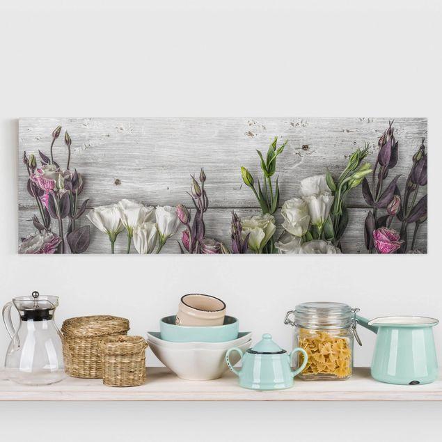 Leinwandbild - Tulpen-Rose Shabby Holzoptik - Panorama Quer