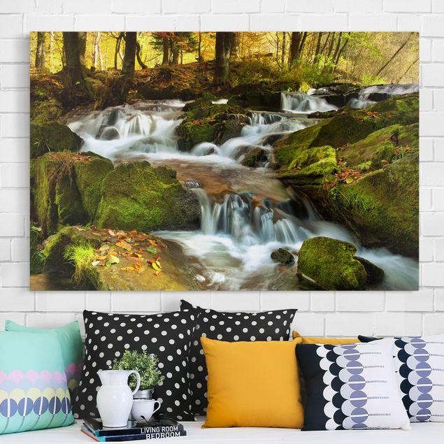Leinwandbild - Wasserfall herbstlicher Wald - Quer 3:2