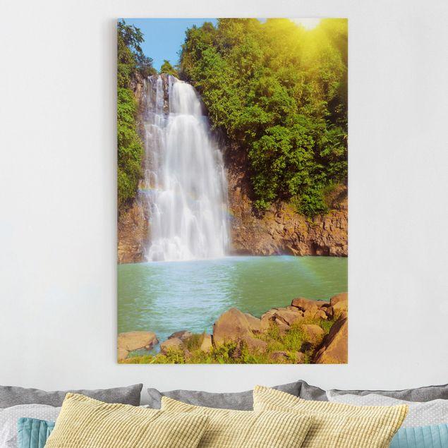 Leinwandbild - Wasserfall Romantik - Hoch 2:3