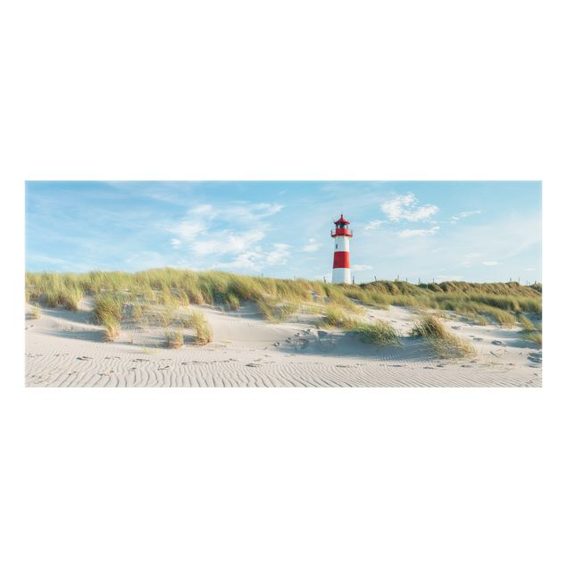 Spritzschutz Glas - Leuchtturm an der Nordsee - Panorama 5:2