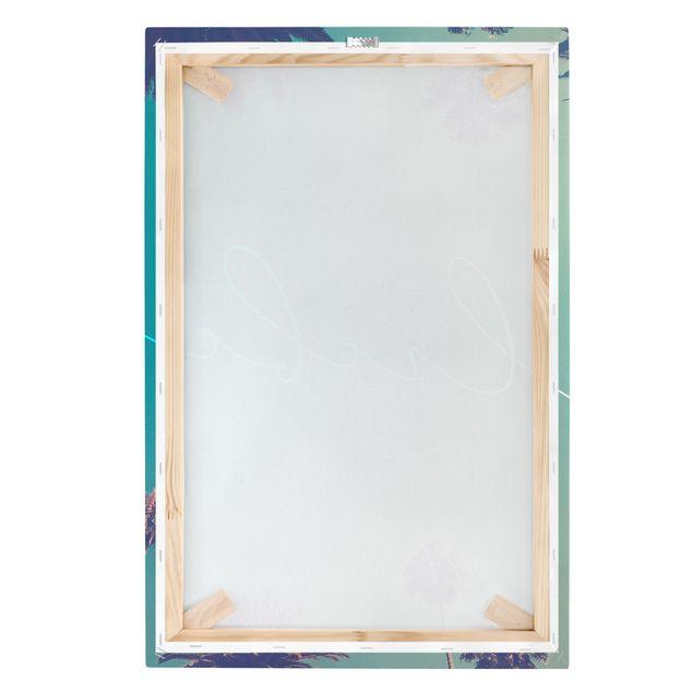 Leinwandbild - Liebe Kalligrafie Palmen - Hochformat 2:3