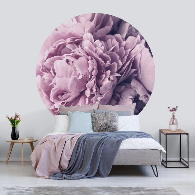Runde Tapete selbstklebend - Lila Pfingstrosenblüten