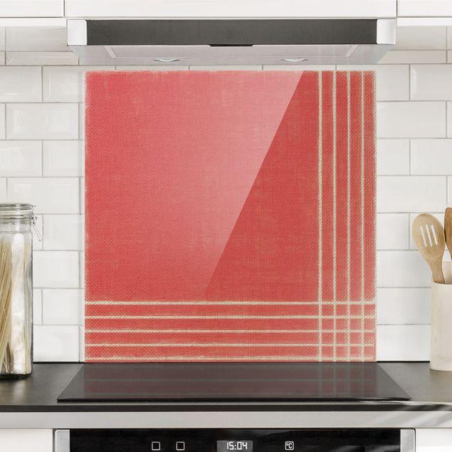 Spritzschutz Glas - Linien Treffen auf Rot - Quadrat 1:1