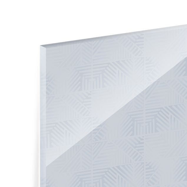 Spritzschutz Glas - Linienmuster Stempel in Blau - Querformat 3:2