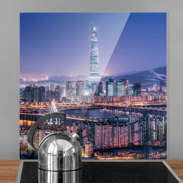 Spritzschutz Glas - Lotte World Tower bei Nacht - Quadrat 1:1