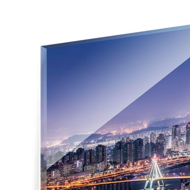 Spritzschutz Glas - Lotte World Tower bei Nacht - Querformat 2:1