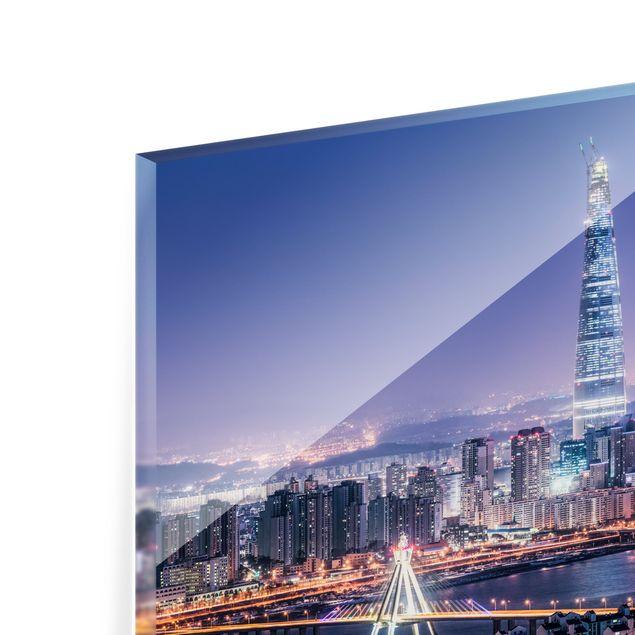 Spritzschutz Glas - Lotte World Tower bei Nacht - Querformat 3:2