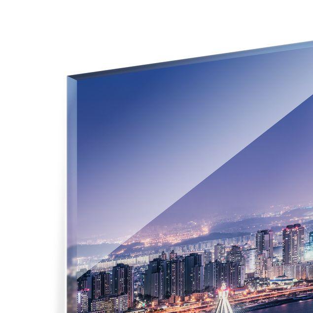 Spritzschutz Glas - Lotte World Tower bei Nacht - Querformat 4:3