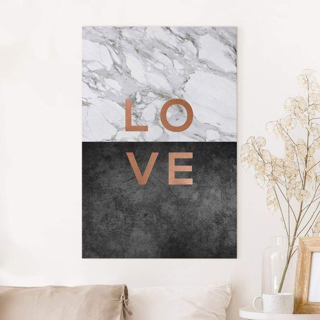 Leinwandbild - Love Kupfer und Marmor - Hochformat 2:3