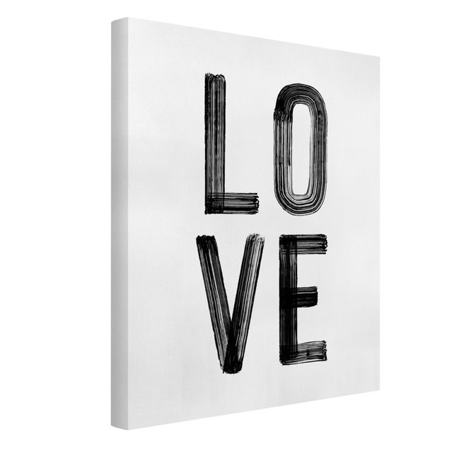 Leinwandbild - Love Typo in Schwarz  - Hochformat 3:4