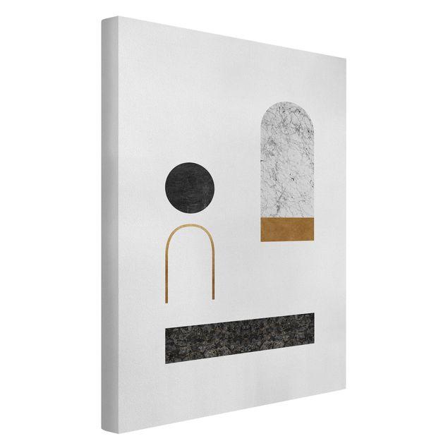 Leinwandbild - Luftige Geometrie mit Gold - Hochformat 2:3