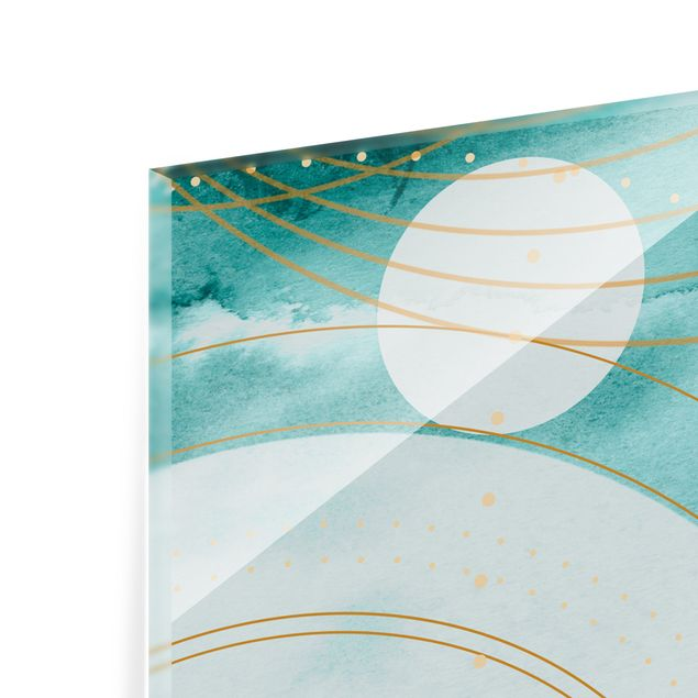 Spritzschutz Glas - Magischer goldener Sternenhimmel II - Querformat 2:1