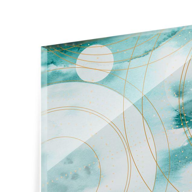 Spritzschutz Glas - Magischer goldener Sternenhimmel II - Querformat 3:2