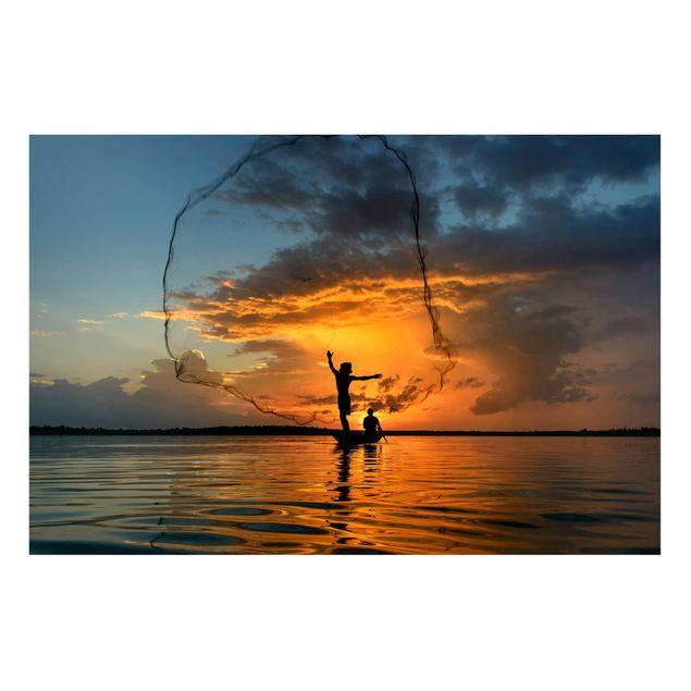Magnettafel - Netz im Sonnenuntergang - Memoboard Querformat