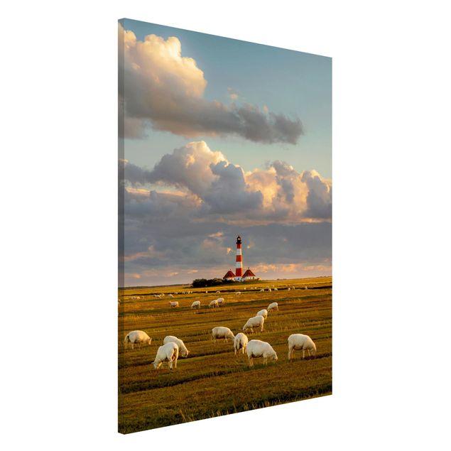 Magnettafel - Nordsee Leuchtturm mit Schafsherde - Memoboard Hochformat