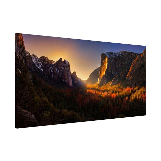 Magnettafel - Sonnenuntergang im Yosemite - Memoboard Panorama Quer