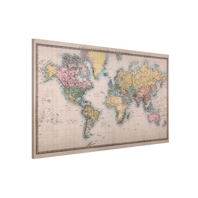 Magnettafel - Vintage Weltkarte um 1850 - Memoboard Quer