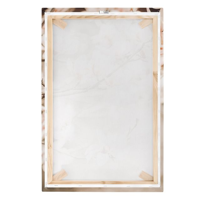 Leinwandbild - Magnolienzweige im Vintagestil - Hochformat 2:3