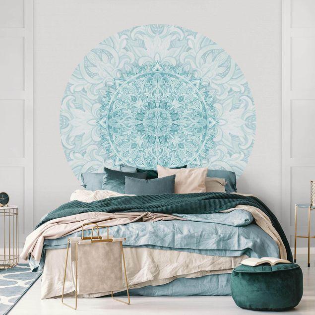 Runde Tapete selbstklebend - Mandala Aquarell Ornament türkis