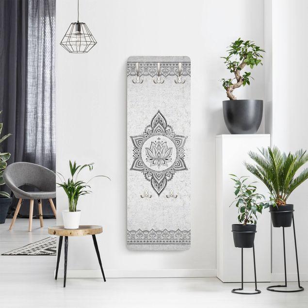 Garderobe - Mandala Lotus Betonoptik