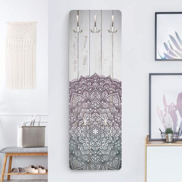 Garderobe - Mandala Lotusblüte Holzoptik weiß