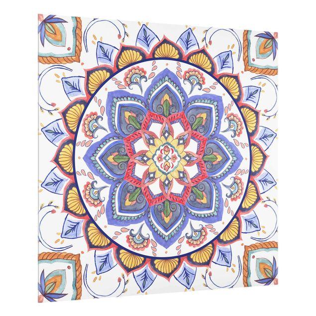 Spritzschutz Glas - Mandala Meditation Chakra - Quadrat 1:1