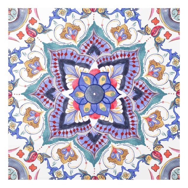 Spritzschutz Glas - Mandala Meditation Namasté - Quadrat 1:1