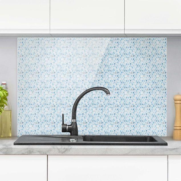 Spritzschutz Glas - Marmor Hexagone Blaue Schattierungen - Querformat 3:2