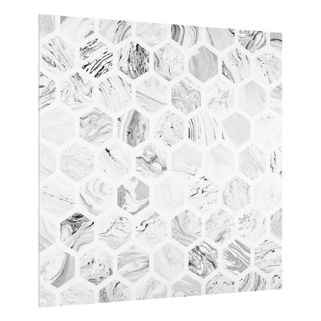Spritzschutz Glas - Marmor Hexagone in Graustufen - Quadrat 1:1