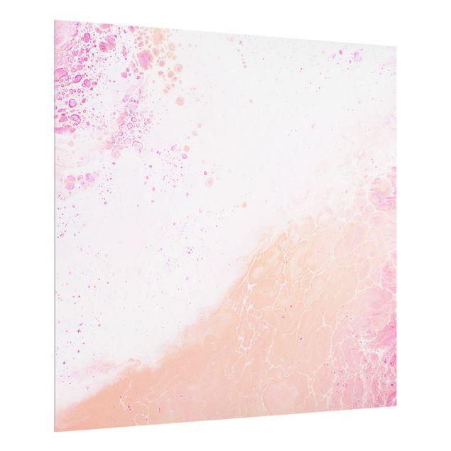 Spritzschutz Glas - Marmoriereffekt Pastellrosa - Quadrat 1:1