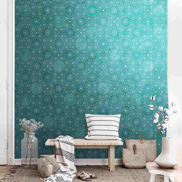 Metallic Tapete  - Marokkanisches Blumen Muster