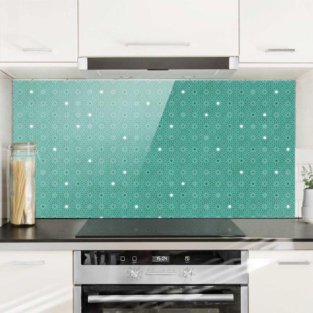 Spritzschutz Glas - Marokkanisches Sternen Muster - Querformat 2:1